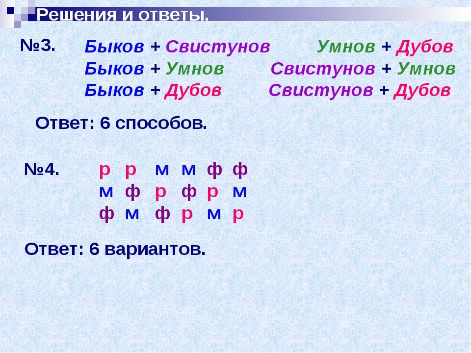 Решения и ответы. №3. Быков + Свистунов Умнов + Дубов Быков + Умнов Свистунов...