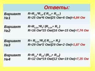 Ответы: Вариант №1R=R2,3*R1,4 /( R2,3+ R1,4 ) R=25 Ом*6 Ом/(25 Ом+6 Ом)=4,
