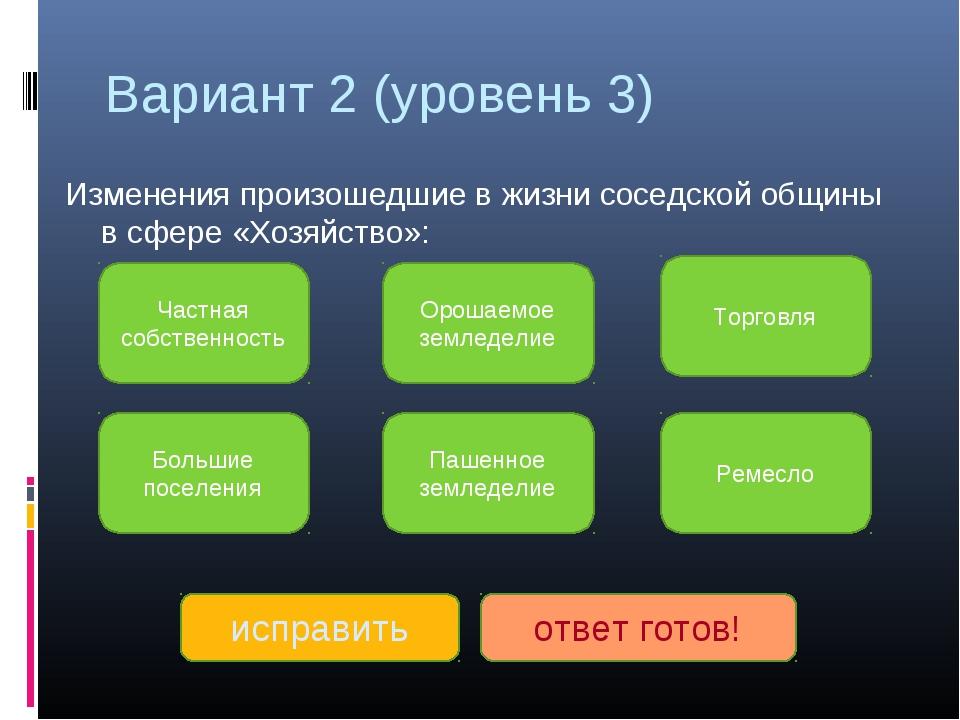 Вариант 2 (уровень 3) Изменения произошедшие в жизни соседской общины в сфере...
