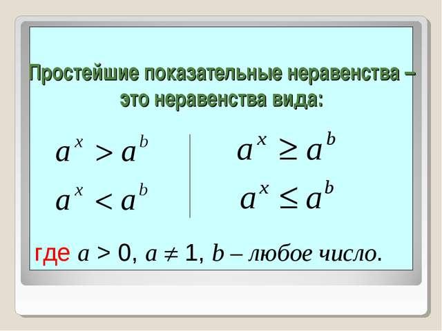 Простейшие показательные неравенства – это неравенства вида: где a > 0, a  1...