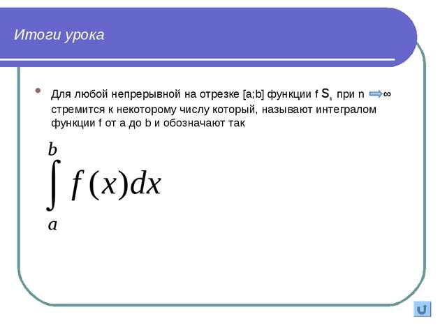 Итоги урока Для любой непрерывной на отрезке [a;b] функции f sn при n ∞ стрем...