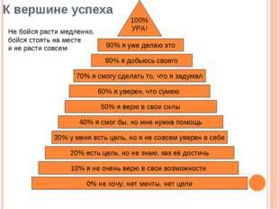 К вершине успеха 0% не хочу, нет мечты, нет цели 30% у меня есть цель, но я не с