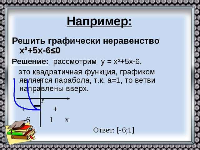 Например: Решить графически неравенство х²+5х-6≤0 Решение: рассмотрим у = х²+...