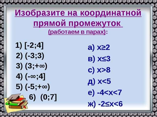 Изобразите на координатной прямой промежуток (работаем в парах): 1) [-2;4] 2...