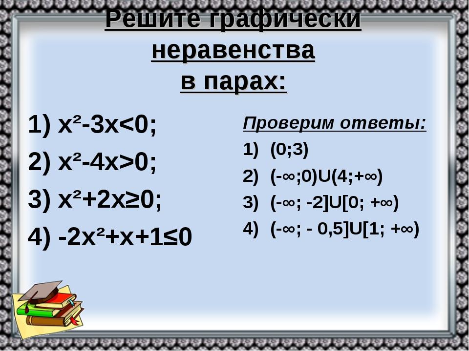 Решите графически неравенства в парах: 1) х²-3х0; 3) х²+2х≥0; 4) -2х²+х+1≤0 П...