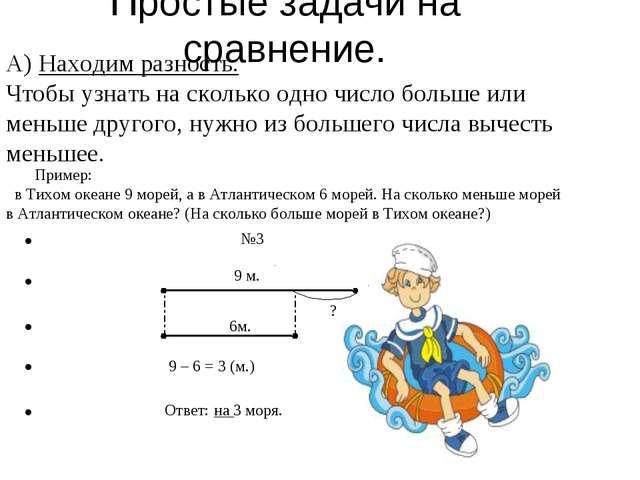Простые задачи на сравнение. А) Находим разность. Чтобы узнать на сколько одн...