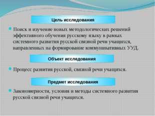 Поиск и изучение новых методологических решений эффективного обучения русско