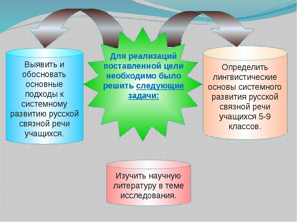 Определить лингвистические основы системного развития русской связной речи уч...