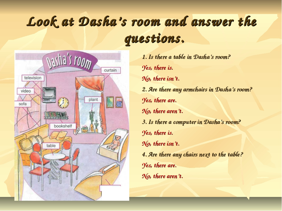 Look at Dasha's room and answer the questions. 1. Is there a table in Dasha's...