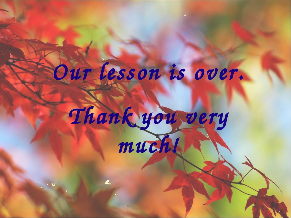 Our lesson is over. Thank you very much!