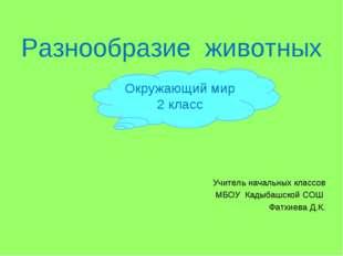 Разнообразие животных Учитель начальных классов МБОУ Кадыбашской СОШ Фатхиева