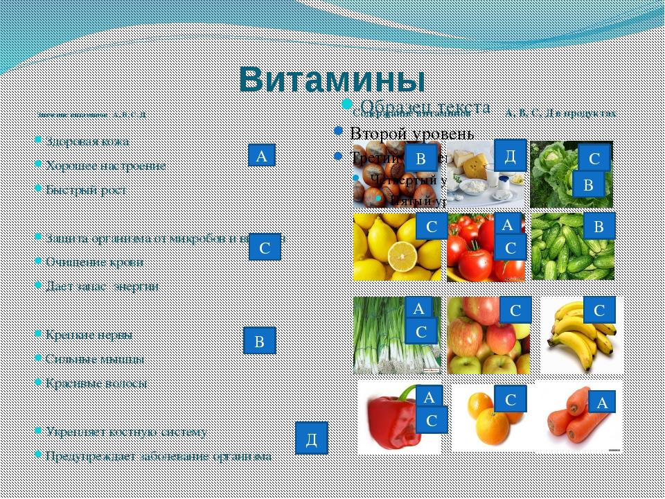 Витамины Значение витаминов А, В, С, Д Содержание витаминов А, В, С, Д в прод...
