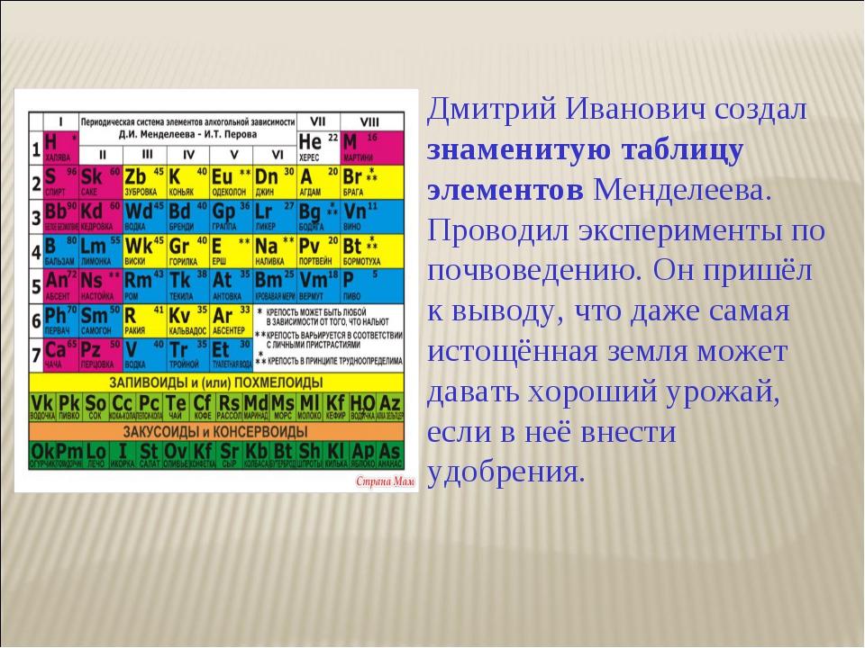 Дмитрий Иванович создал знаменитую таблицу элементов Менделеева. Проводил экс...
