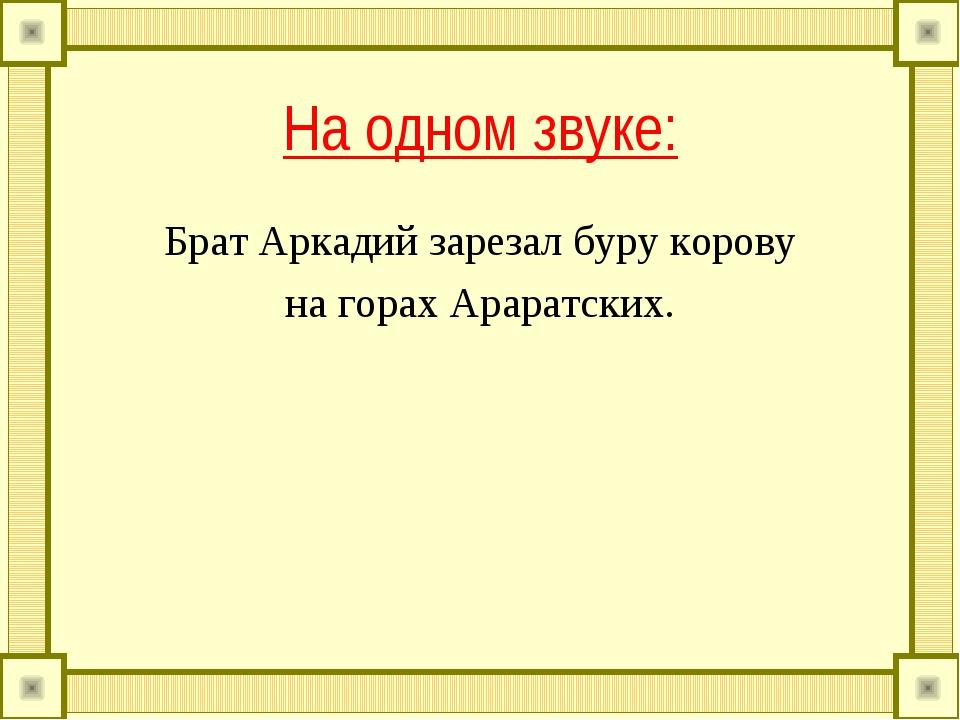 На одном звуке: Брат Аркадий зарезал буру корову на горах Араратских.