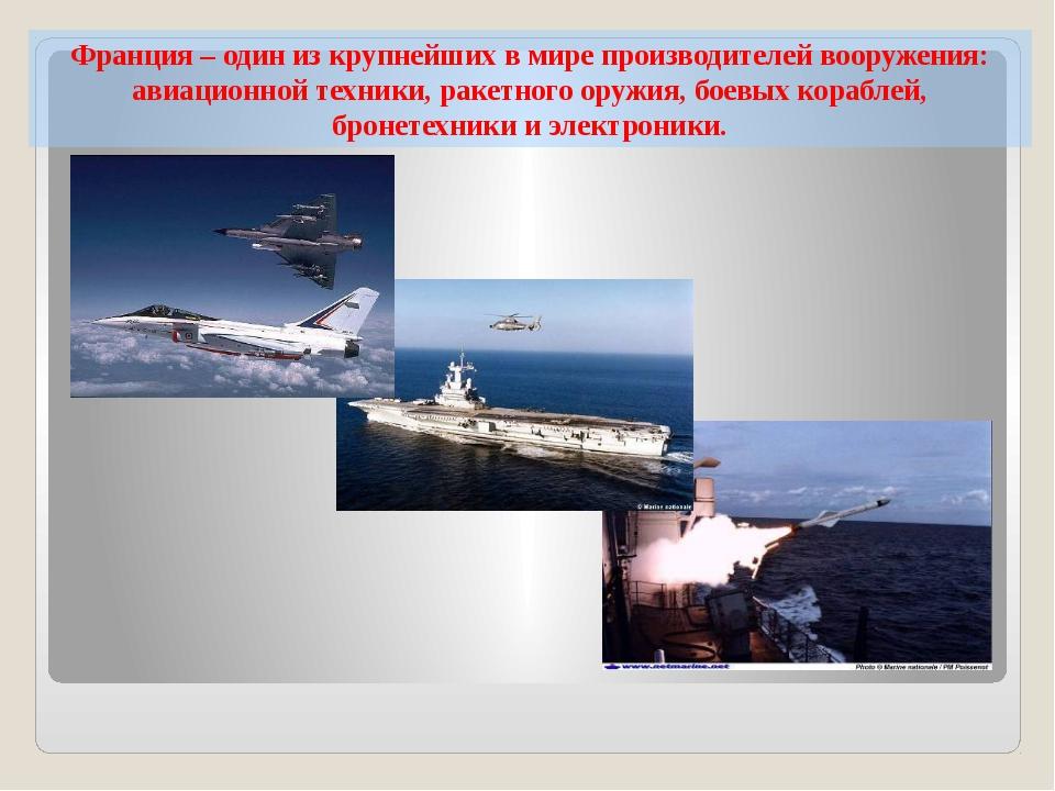 Франция – один из крупнейших в мире производителей вооружения: авиационной те...