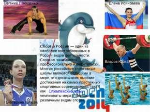 Спорт в России— один из наиболее востребованных в России видов деятельности.