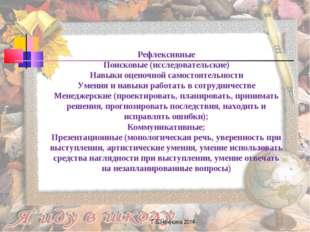 Г.В.Нечукина 2014 Рефлексивные Поисковые (исследовательские) Навыки оценочной