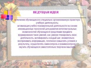 Г.В.Нечукина, 2014 ВЕДУЩАЯ ИДЕЯ включение обучающихся в специально организова