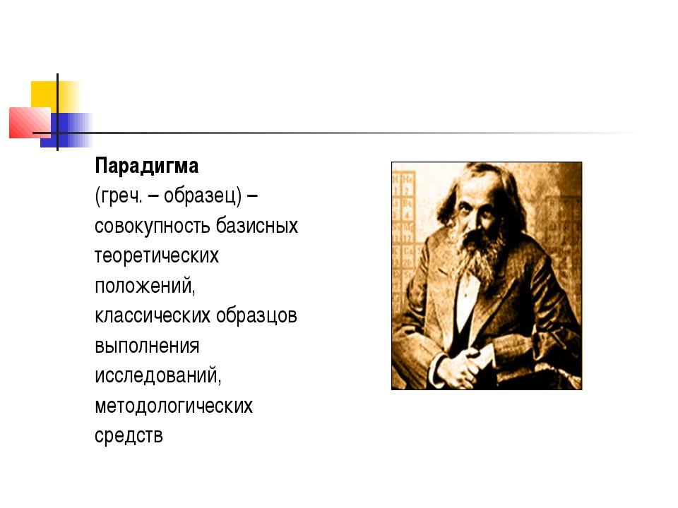 Парадигма (греч. – образец) – совокупность базисных теоретических положений,...