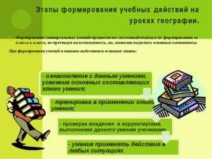 Этапы формирования учебных действий на уроках географии. Формирование универс