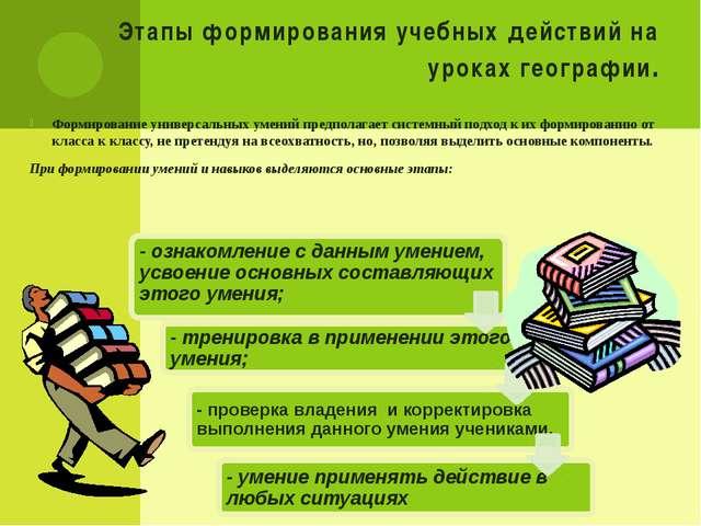 Этапы формирования учебных действий на уроках географии. Формирование универс...