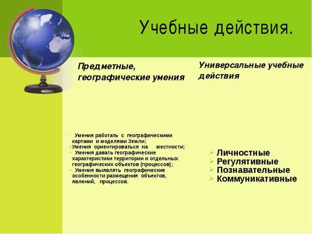 Учебные действия. Предметные, географические умения  Умения работать с гео...