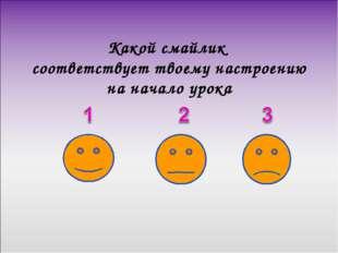 Какой смайлик соответствует твоему настроению на начало урока