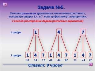Сколько различных двузначных чисел можно составить, используя цифры 1,4, и 7,