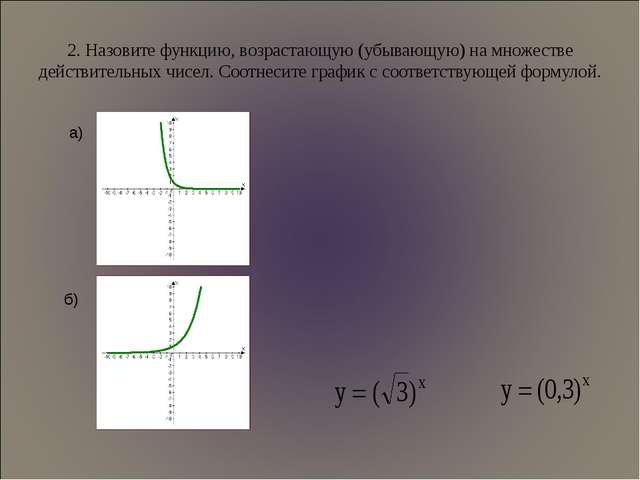 2. Назовите функцию, возрастающую (убывающую) на множестве действительных чис...