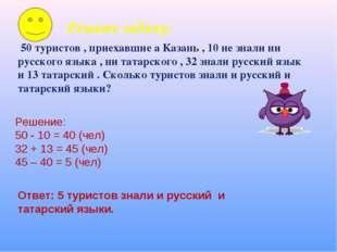 Решите задачу: 50 туристов , приехавшие а Казань , 10 не знали ни русского яз
