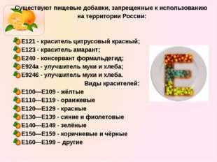 Существуют пищевые добавки, запрещенные к использованию на территории России: