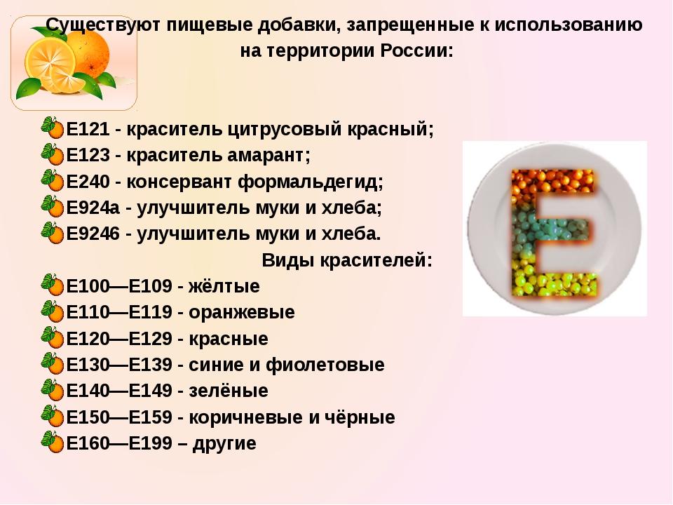 Существуют пищевые добавки, запрещенные к использованию на территории России:...