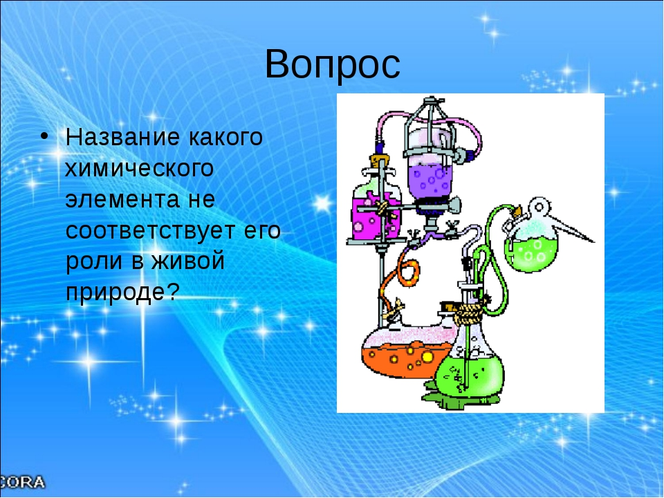 Вопрос Название какого химического элемента не соответствует его роли в живой...