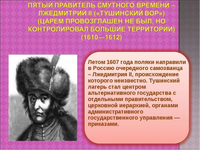 Летом 1607 года поляки направили в Россию очередного самозванца – Лжедмитрия...