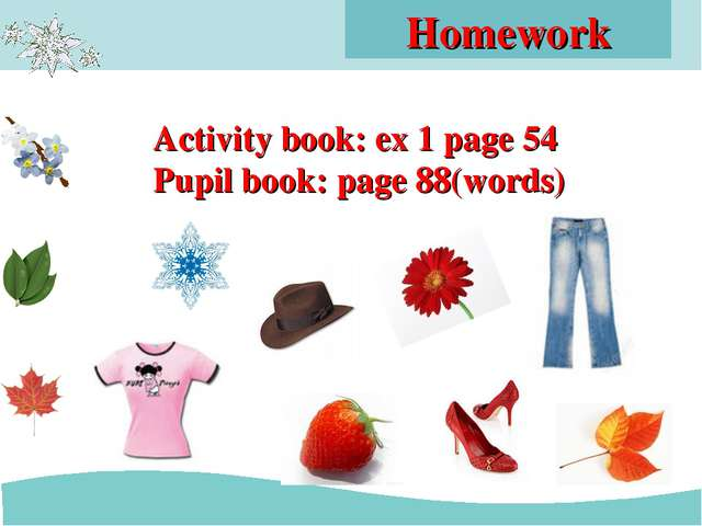 Homework Activity book: ex 1 page 54 Pupil book: page 88(words)