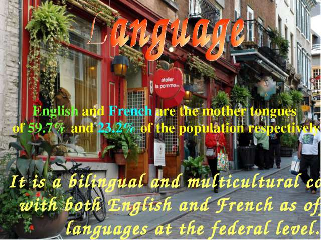 It is a bilingual and multicultural country, with both English and French as...