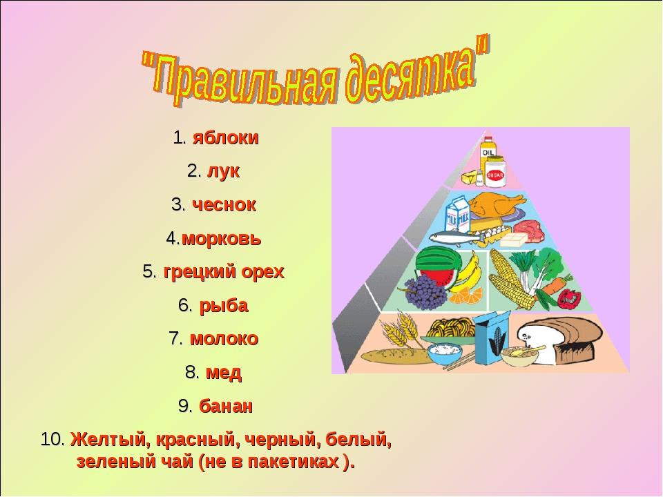 1. яблоки 2. лук 3. чеснок 4.морковь 5. грецкий орех 6. рыба 7. молоко 8. мед...