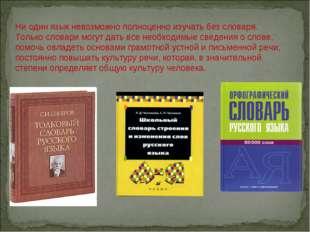 Ни один язык невозможно полноценно изучать без словаря. Только словари могут