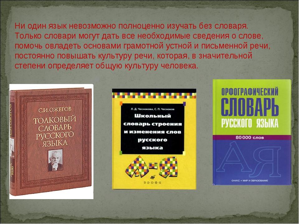 Ни один язык невозможно полноценно изучать без словаря. Только словари могут...