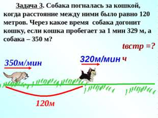Решение: 350 - 320 = 30 (км/ч) - равна скорость сближения собаки и кошки; 12