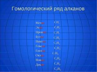 Гомологический ряд алканов Метан Этан Пропан Бутан Пентан Гексан Гептан Октан