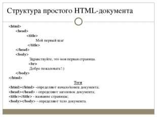 Структура простого HTML-документа    Мой первый шаг    Здравствуйте, это моя