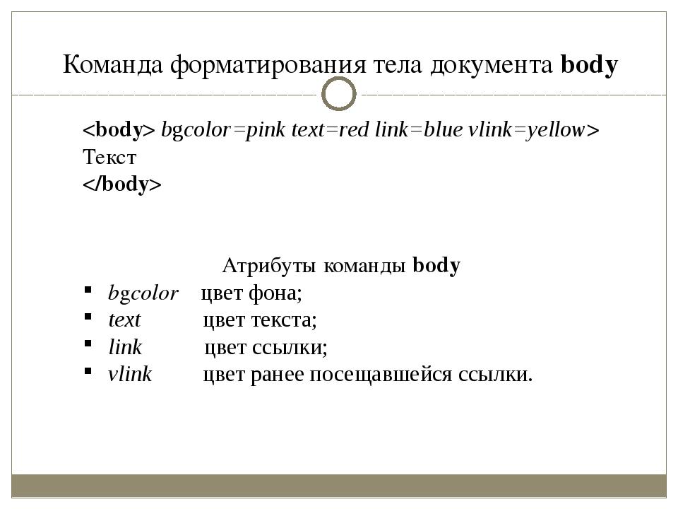 Команда форматирования тела документа body  bgcolor=pink text=red link=blue v...