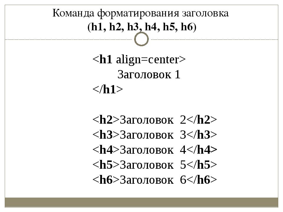 Команда форматирования заголовка (h1, h2, h3, h4, h5, h6)  Заголовок 1  Загол...