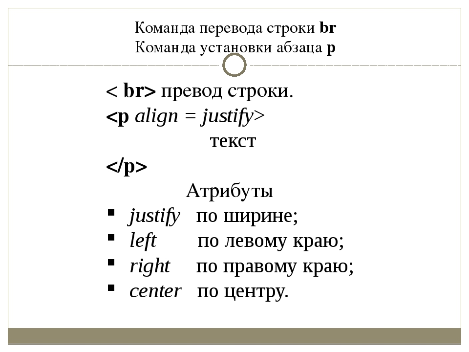 Команда перевода строки br Команда установки абзаца p < br> превод строки.  т...