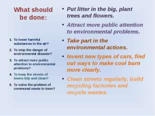 What should be done: Put litter in the big, plant trees and flowers. Attract