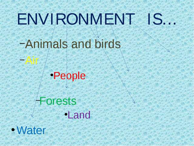 ENVIRONMENT IS… Animals and birds Air People Forests Land Water