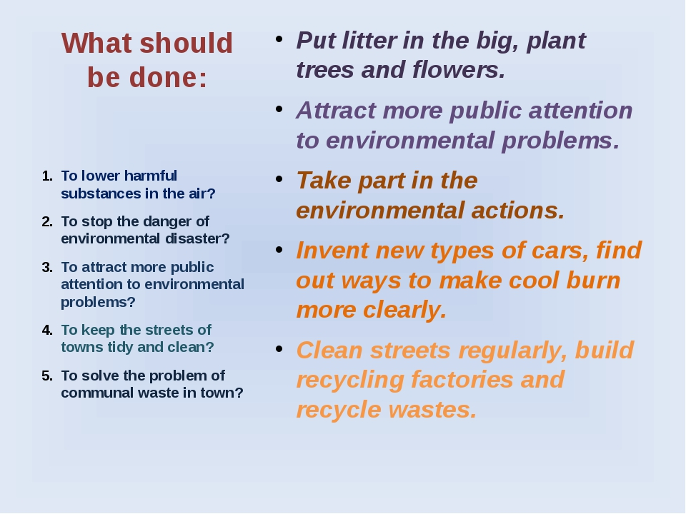 What should be done: Put litter in the big, plant trees and flowers. Attract...