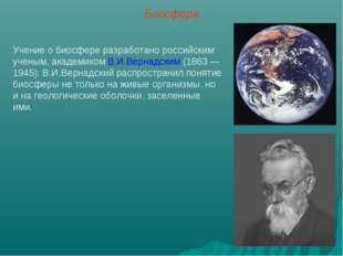 Биосфера Учение о биосфере разработано российским ученым, академиком В.И.Верн