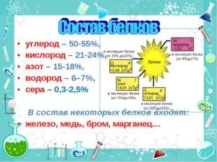 углерод – 50-55%, кислород – 21-24%, азот – 15-18%, водород – 6–7%, сера – 0,